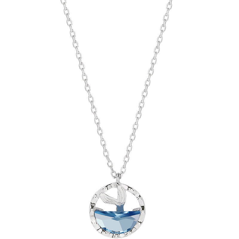 OBEAR silver Plated Mermaid Tears Foam Necklace Simple Mermaid Tail Blue Crystal Clavicle Chain for Women Accessories