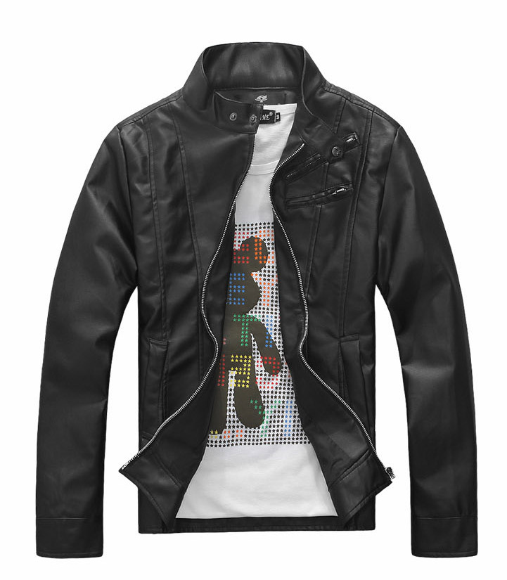 EBay Stand Collar Men Machine Clothing Leather Coat Korean-style MEN'S Outerwear Slim Fit Leather Jacket High-waisted