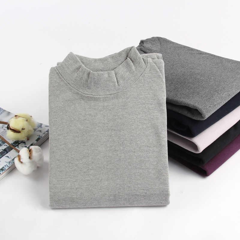 Camisetas de cuello alto de algodón elástico para hombre ropa interior térmica de invierno ropa masculina camiseta XXXL talla grande hombre Camiseta de manga larga hombres