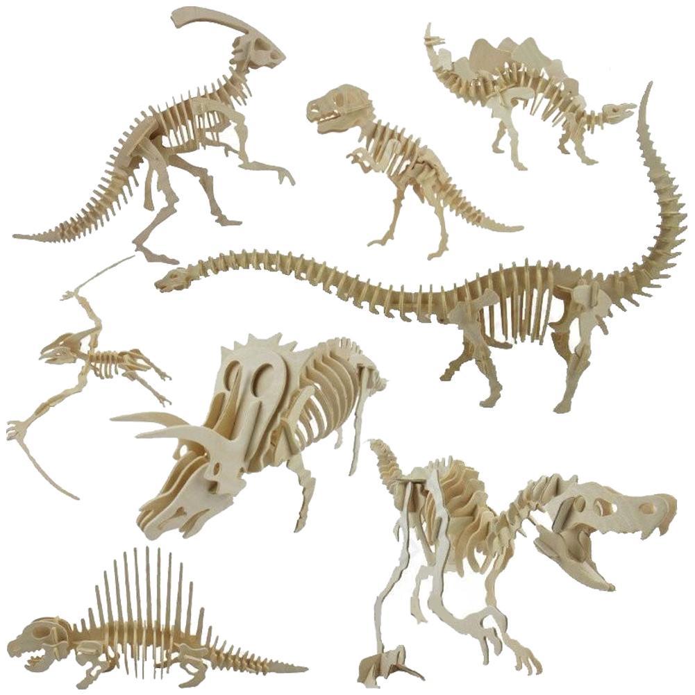 Дети 3D паззл с динозаврами смешной 3D макет скелета динозавра головоломка DIY деревянная обучающая игрушка для детей подарок|Пазлы|   | АлиЭкспресс - Для вечеров с детьми