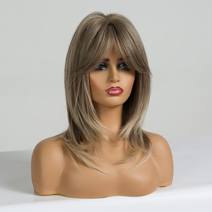 Image 2 - ALAN EATON Women Light Brown Blonde Medium Length Layered Wavy Synthetic Hair Wigs with Bangs Cosplay Wig Heat Resistant Fiber