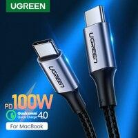 UGREN-Cable de carga USB tipo C para MacBook Pro, iPad Pro 2020, Samsung S20, S10, Cargador rápido, PD100W