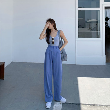 Spring Summer New Fashion Casual High Waist Wide Leg Pants Women Office Lady Pants Elegant Trousers
