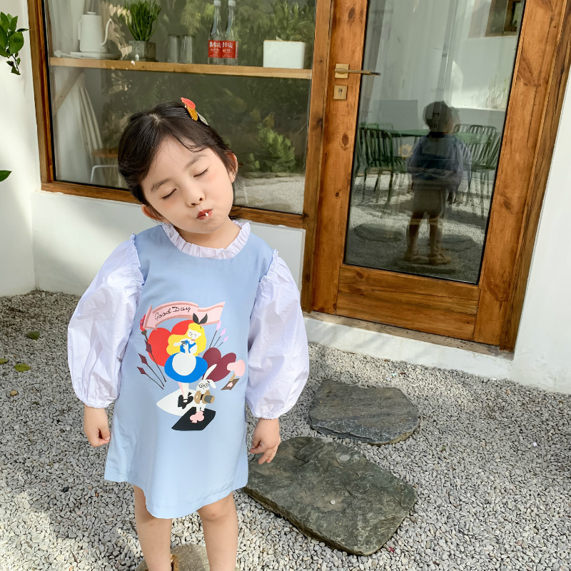 Spring New Arrival Korean Style Cotton Cartoon Printed Matching Colors Long Sleeve Princess Dress For Sweet Fashion Baby Girls