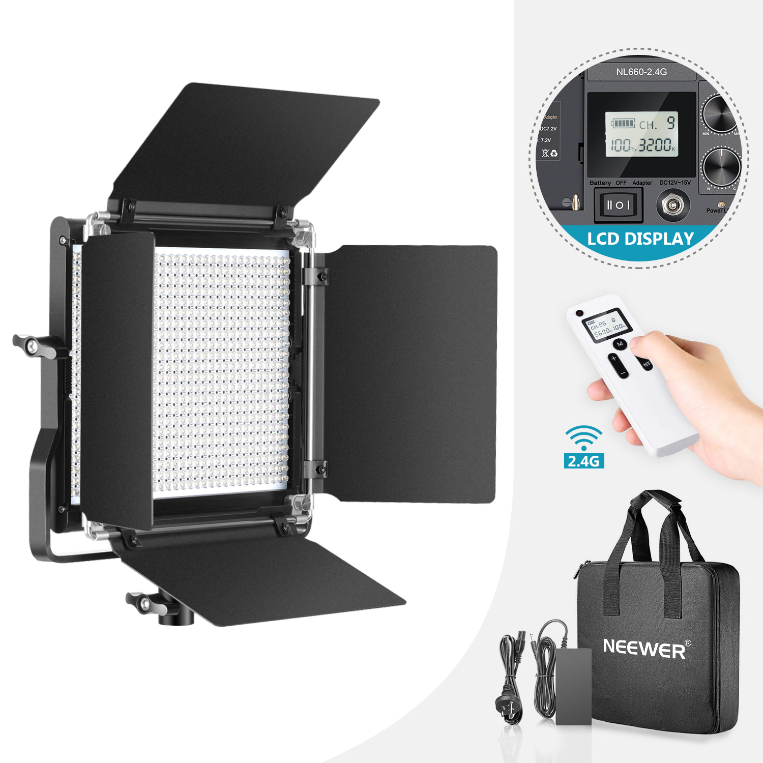 Neewer Advanced LCD 2.4G 660 LED Video Light, Dimmable Bi-Color LED Panel for Studio, YouTube, Product Photography, Video image