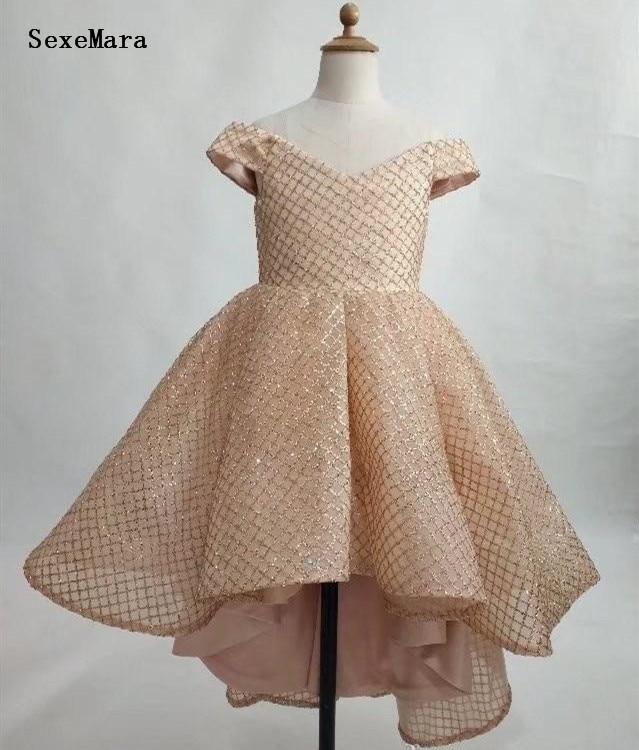 Off Shoulder Gold 2019 Baby Girls Dresses Zipper Back Beautiful Flower Girl Dress Kids Birthday Gown Size 12M 18M 24M