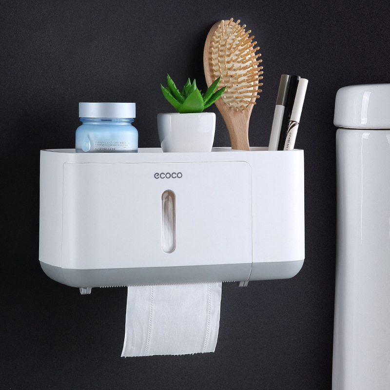 Toilet Paper Holder White Waterproof Roll Bathroom Wall Mount Shelf For 2019 Innovative Towel Rack