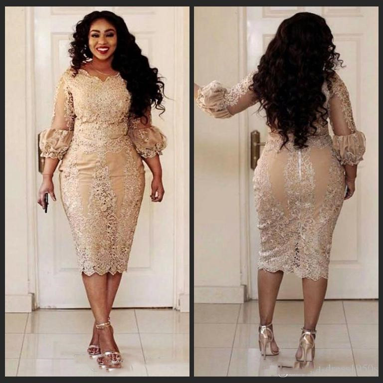 2019 African Champagne Mother Of The Dresses Jewel Neck Lace Applique Illusion 3/4 Sleeve Long Sleeve Evening Gowns Plus Size