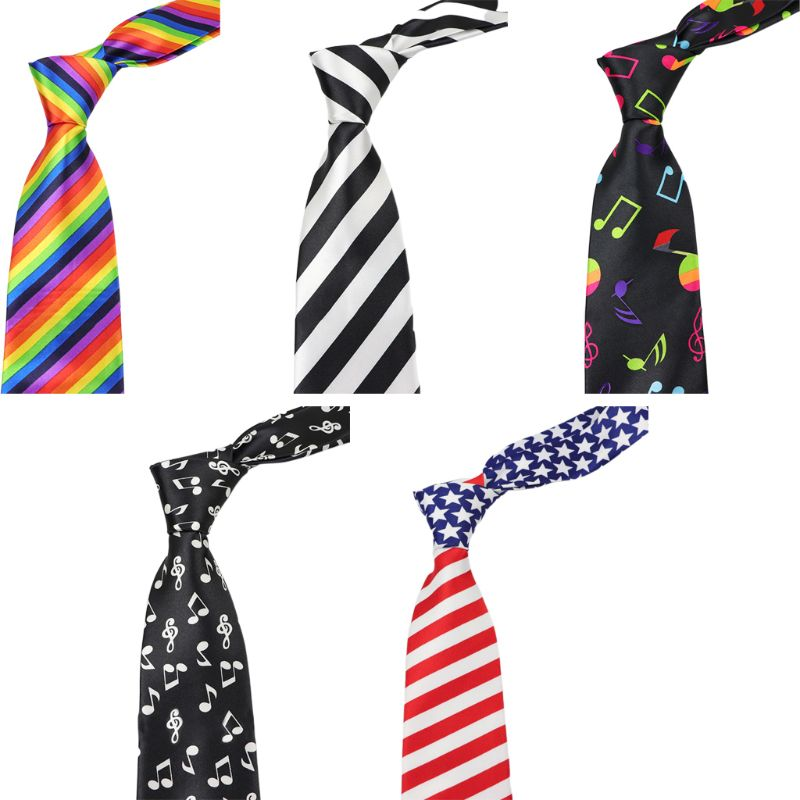 Men Women Classic American Flag Necktie Rainbow Stripes Musical Notes Print Formal Party Imitation Silk Independence Day Ties