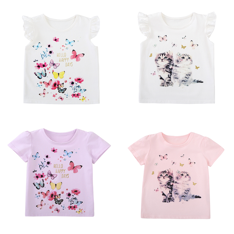 Cotton Baby Toddler Tops Kids Summer Short Sleeve T Shirt Girls Children's Clothing Princess Print Animal Cat Butterfly T-Shirt