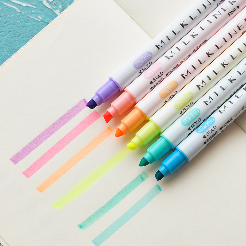 12pcs/set Mildliner Highlighter Pen Stationery Milkliner Double Headed Fluorescent Marker Pen 12 Colors Mark Pen Cute Korea Pen