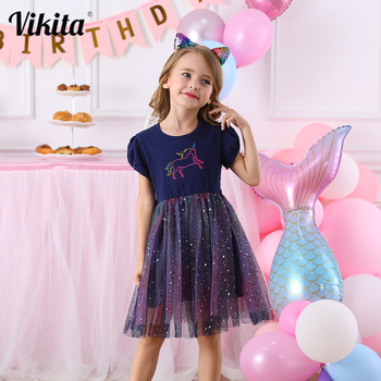 VIKITA Girls Unicorn Dress Cotton Toddlers Princess Tutu Dress Children Licorne Party Vestidos Kids Summer Dresses for Girls vikita girls unicorn dress princess tutu dress for girls children birthday party licorne vestidos kids autumn winter dresses