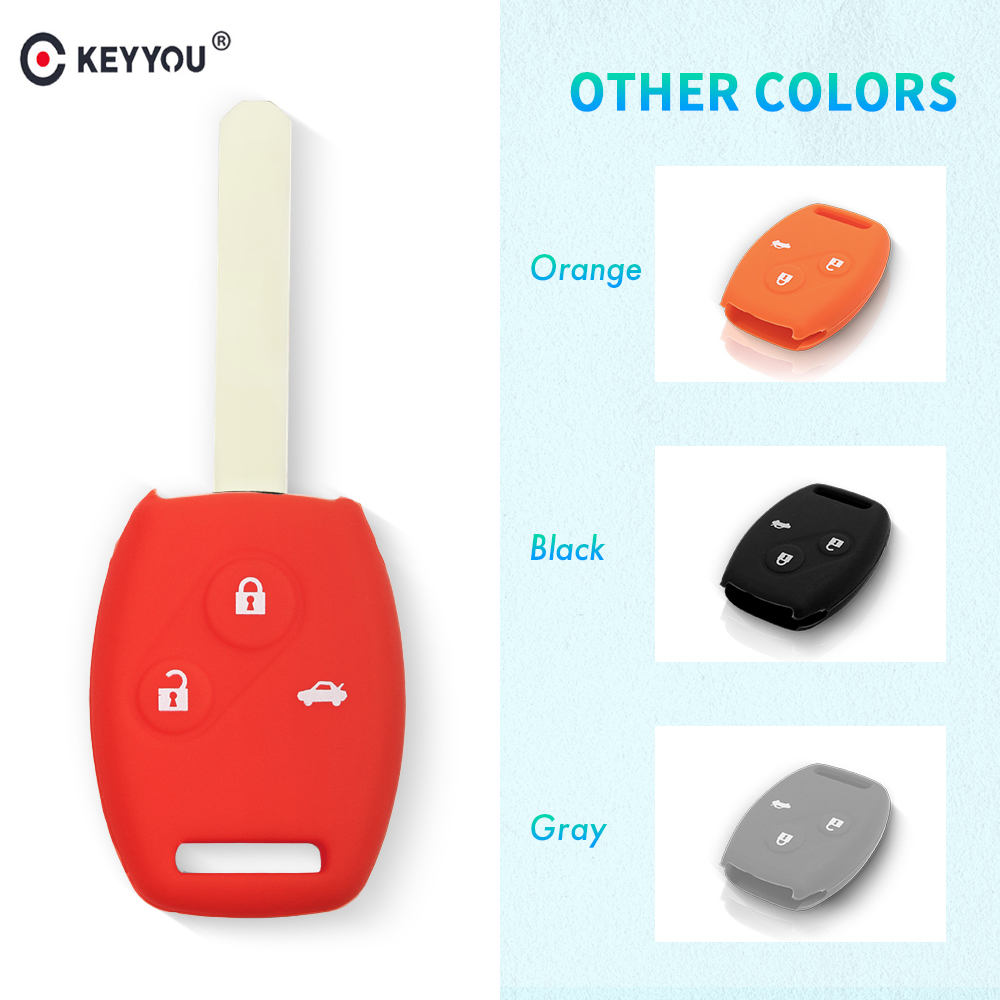 KEYYOU Hot Silicone Key Case Smart Car Key Cover For Honda 3 Button Accord CRV Civic FIT Pilot