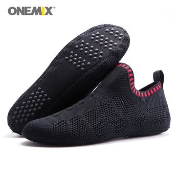 Onemix men indoor walking shoes slip-on innner slippers white high-elastic no glue environmentally light cool man indoor shoes