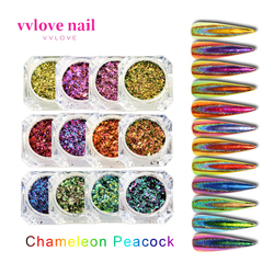 Nail Art Glitter Colorful And Beautiful Nail Decoration Sequins Peacock Foil Brilliant Color Magic Mirror Powder