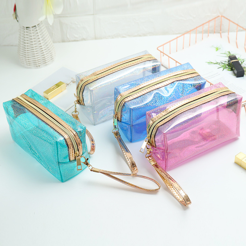 Transparent Flash Cosmetic Bags Flap Women Men Zipper Travel Wash Storage Bags Organizer Makeup Cases Beauty Toiletry Kit Wash