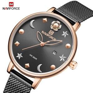 Image 2 - NAVIFORCE Uhr Frauen Mode Kleid Quarz Uhren Dame Edelstahl Wasserdichte Armbanduhr Einfache Mädchen Uhr Relogio Feminino