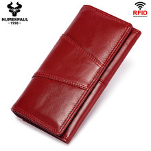 Genuine Leather Wallet Women Clutch Wallets Luxury Female Coin Purse Rfid Card Holder Handy Passport Phone Bags portfel damski