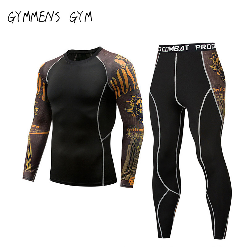 2018 Mens Compression Set Running Tights Workout Fitness Training Tracksuit Long Sleeves Shirts Sport Suit Rashgard Kit S-3XL