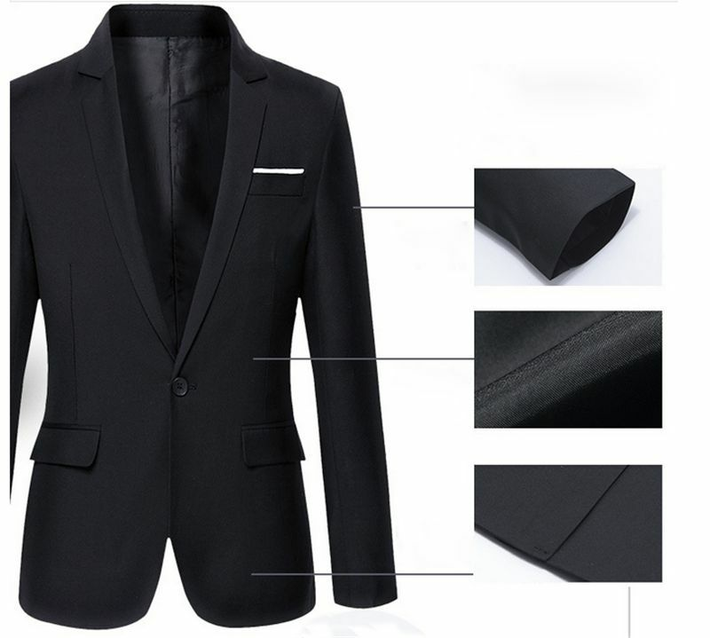 Hot sale Mens Korean slim fit arrival cotton blazer Suit Jacket black blue  plus size s to 4XL Male blazers Mens coat Wedding 3