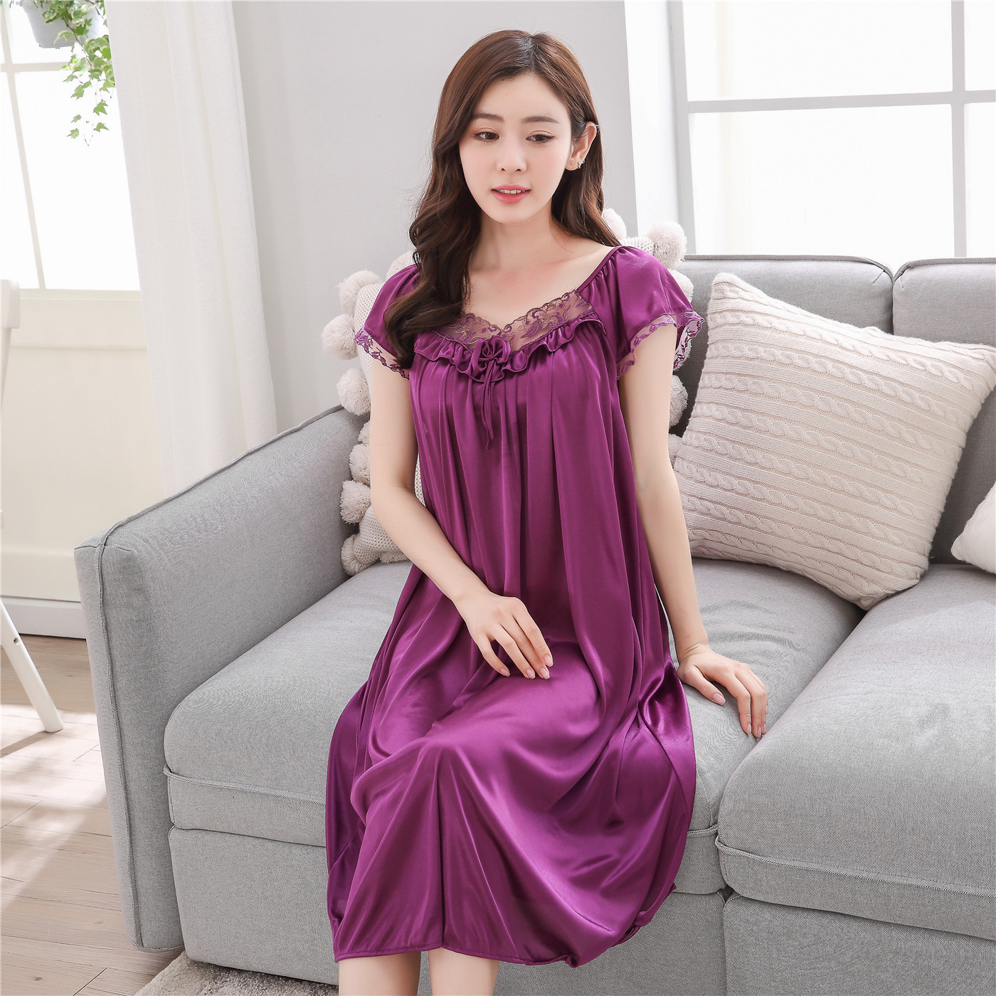 2019 Solid Color Sexy Viscose Nightgown Summer Short-sleeved Women's Large Size Fat Mm Viscose Mid-length Nightgown