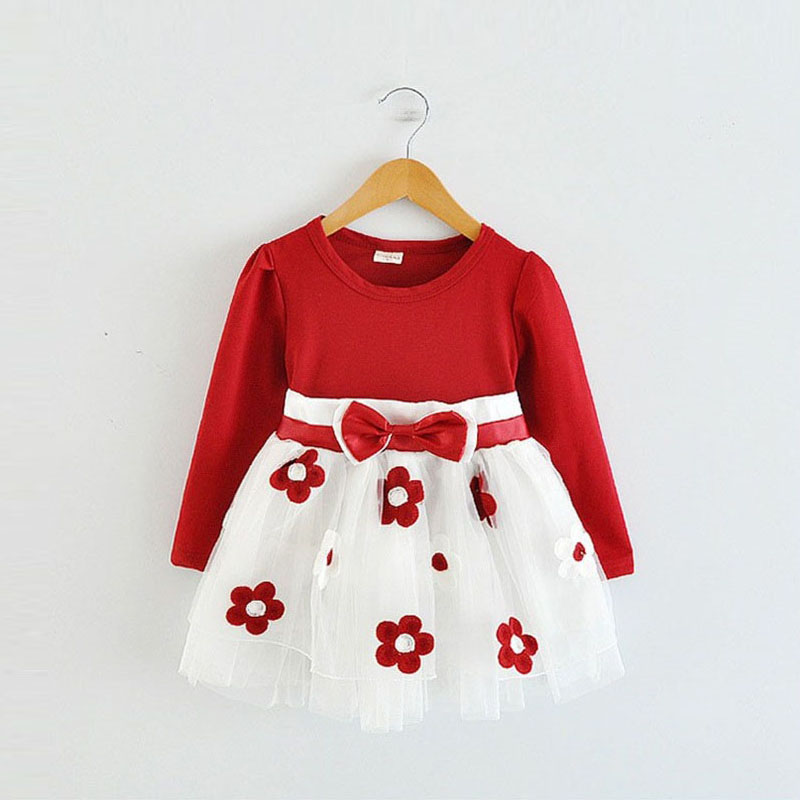 Коллекция года, зимнее платье с длинными рукавами для маленьких девочек, платье на крестины, день рождения, возраст от 0 до 2 лет, платье для новорожденных повседневная одежда для детей повседневная одежда - Цвет: Red dress
