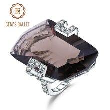 GEMS الباليه الفاخرة 925 فضة خمر خاتم كبير الطبيعية سموكي الكوارتز خواتم الأحجار الكريمة للنساء غرامة مجوهرات