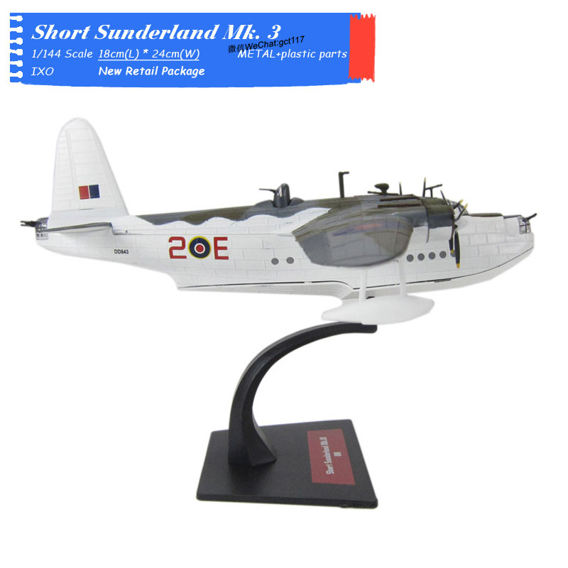 IXO 1/144 Scale Military Model World WarII SHORT SUNDERLAND MKIII RAF Fighter Diecast Metal Plane Model Toy For Collection,Gift