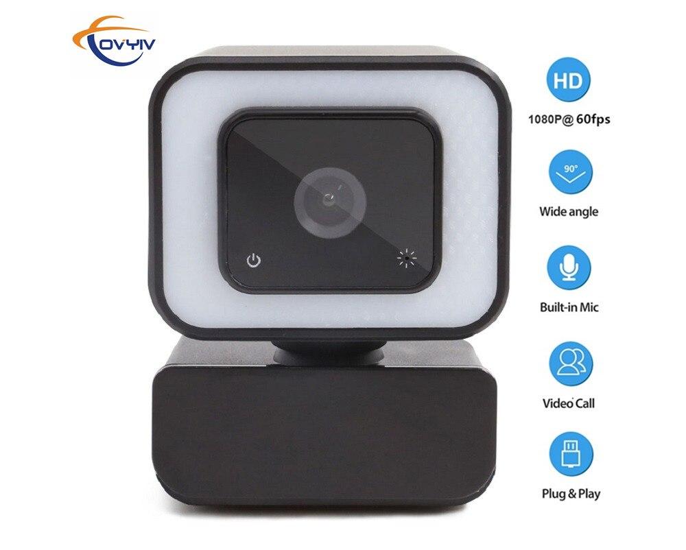 COVYIV веб-камеры 1080p 60fps Full HD веб-Камера с микрофоном третьей передачи Промежуточного сенсорный Красота светильник для ПК компьютера Mac ноутбу...