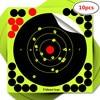 10pcs/pack Fluorescent Green Splash Flower Target 8Inch Adhesive Indoor Reactivity Shoot Target Aim For Rifle / Pistol Binders