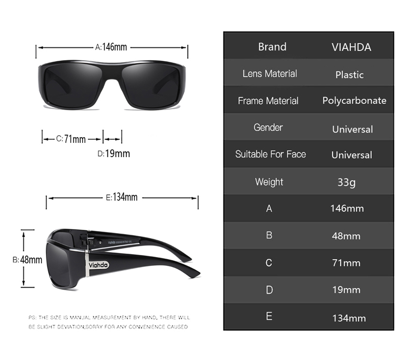 Image 4 - VIAHDA  Men Polarized Sunglasses Driving Sport Sun Glasses Fashion For Men Women   Sun Glasses Travel Male Female  Square ColorMens Sunglasses   -
