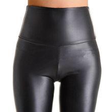 NORMOV Women Black Stretch Faux Leather High Waist Pants Sheath Leggings Sexy Push Up Leggings Skinny Trousers Women