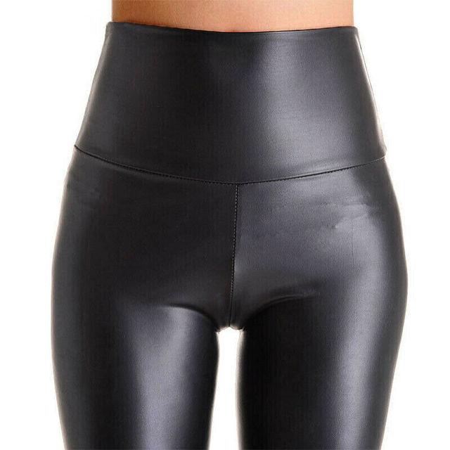 NORMOV femmes noir Stretch Faux cuir taille haute pantalon gaine Leggings Sexy Push Up Leggings pantalon slim femmes