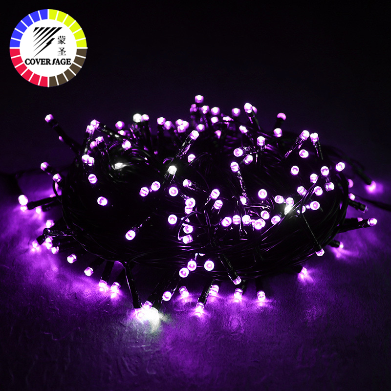 Coversage Christmas Tree 50M Led String Garland Fairy Light Black Line Chain Home Garden Party Outdoor Holiday Decoration