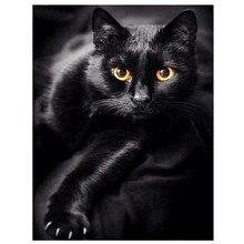 Алмазная живопись, Черный кот, полный квадрат/круглый 5D, алмазная вышивка «сделай сам», распродажа, стразы, узоры животных, украшение для дом...