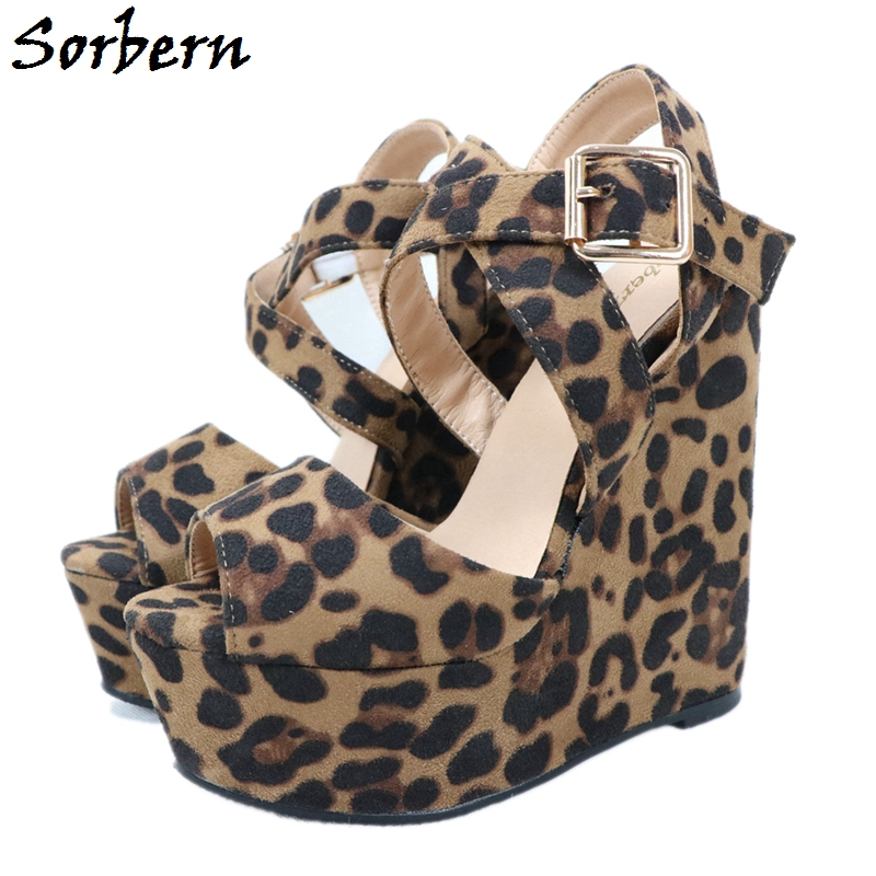 Sorbern Leopard Sandal For Women Wedge High Heels Ankle Straps Platform Open Toe Comfortable Summer Shoes New 2017 Buckle Strap