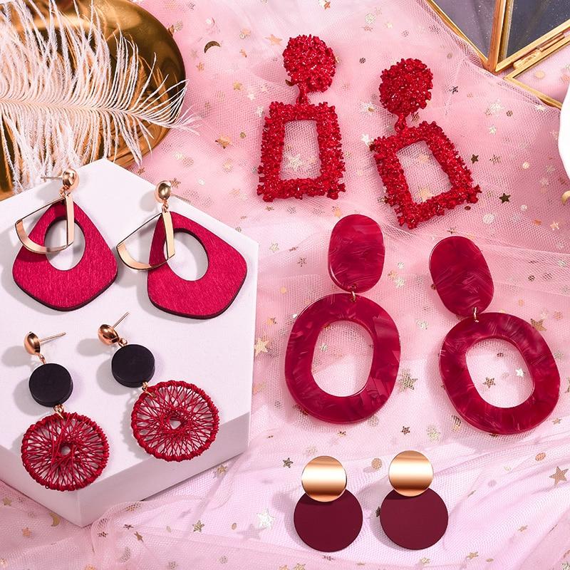 POXAM новые корейские акриловые Эффектные серьги для женщин красные милые геометрические Висячие золотые серьги 2020 модные ювелирные изделия