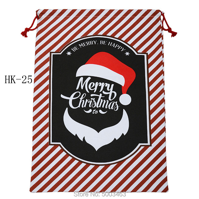 Wholesale Santa Sacks 100pcs/lot Christmas Bag Party Large Canvas Bag Drawstring Santa Sacks Burlap Christmas Gift Bag