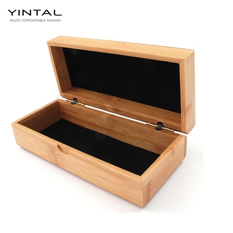 YINTAL Classic Safety Razor Box Handmade Bamboo Shaver Holder Double Edge Safety Razor Travel Case Gift Box