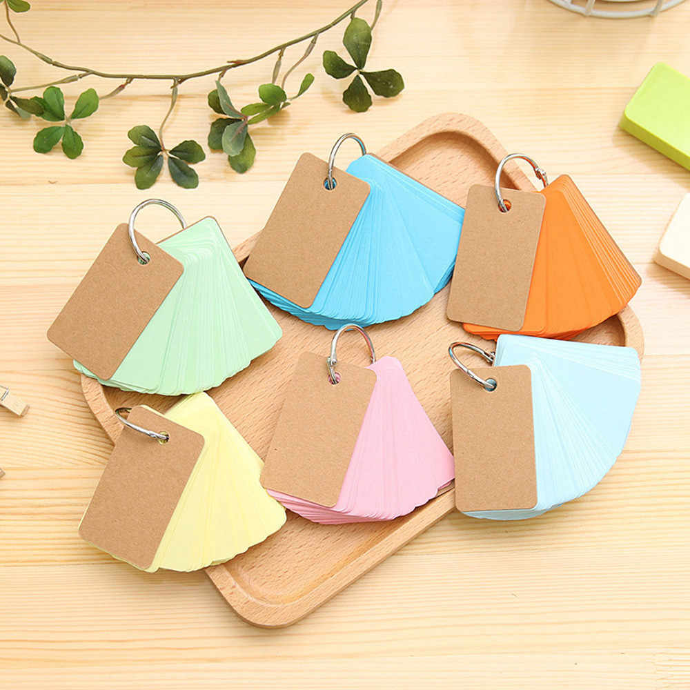 Portable DIY notebook blank page kraft paper notebook word School Supplies Office Student study card