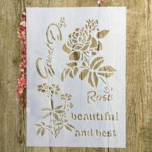A4 29 * 21cm Rose DIY Stencils Wall Painting Scrapbook Coloring Embossing Album Decorative Paper Card Template