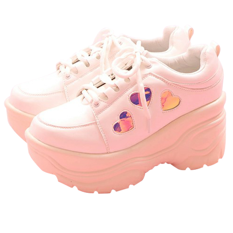 Japanese Girl Sweet Lolita Sneakers Heart Women College Girl Students Lolita Shoes High Heel Platform Shoes Platform Sneakes