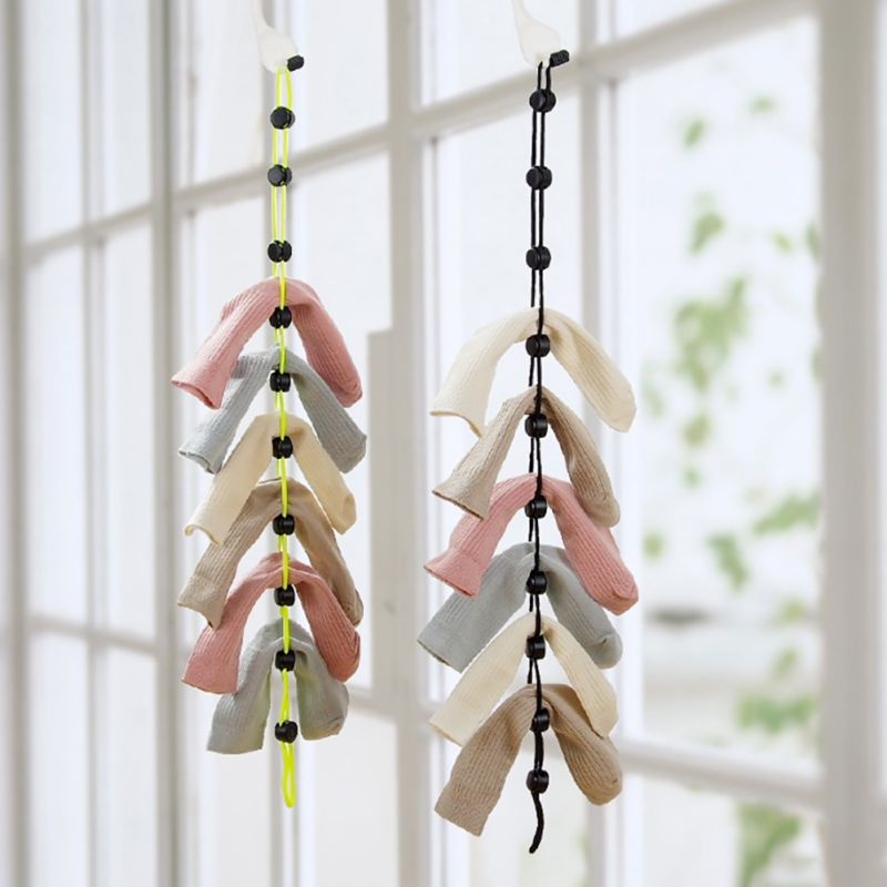 Socks Storage Organizer Sock Adjustable Non slip Hanging Rope Hook Clips Sock Cleaning Aid Tool Socks Drying Hanger Clothesline|Drawer Organizers| |  -