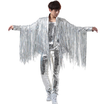 Nightclubs Men's Singing Bars DJ Rock Punk Silver Tassels Apparel Suits Leather Clothing Performance Costumes Men 2020 спасательная штанга singing rock rescue pole