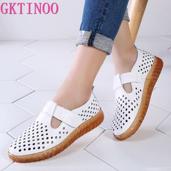 GKTINOO Womans Shoes Fashion 2020 Solid Hook & Loop Cozy Genuine Leather Shoes Women Rubber Hollow Soft Flat Shoes Women