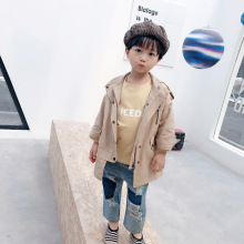 Korean fashion children clothes khaki windbreaker jacket 2019 new girls autumn winter casual coat single-row buckle kids