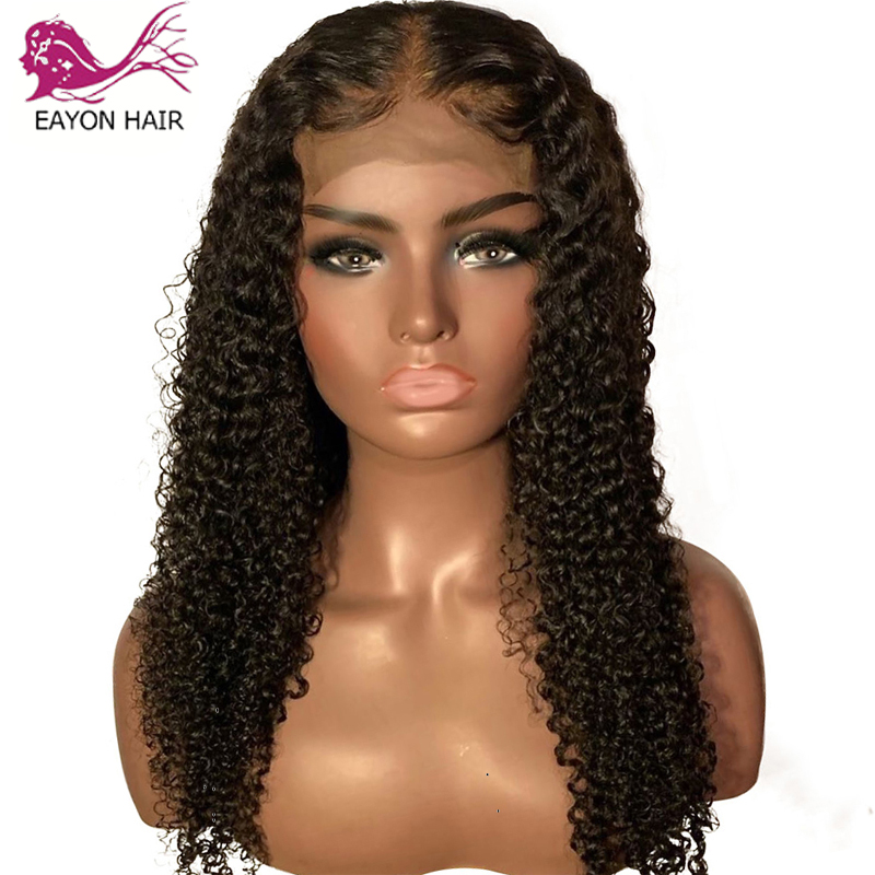 EAYON Curly Lace Front Human Hair Wigs For Women Baby Hair Pre Plucked Whole Lace Frontal Bleached Knots Brazilian Remy Hair