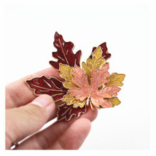 Christmas Maple Leaf Brooch Fashion Drop Glaze Three Layers Exquisite Female Accessories Gift
