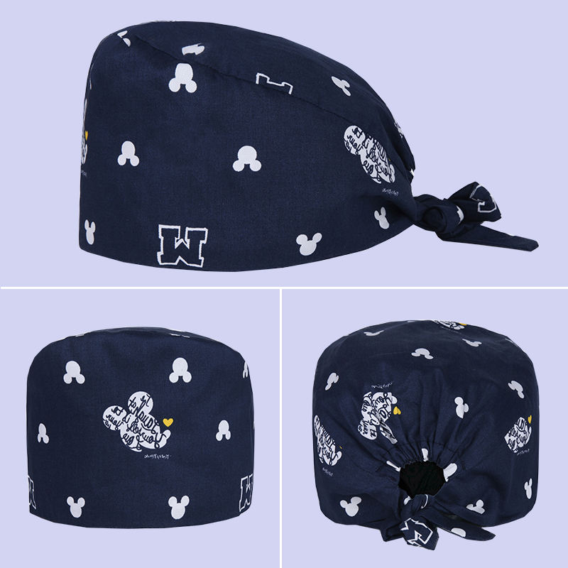 Mouse Print Surgical Tieback Cap Cotton Cute Nurse Medical Work Hat For Women And Men Adjustable Medicine Hat Cheap
