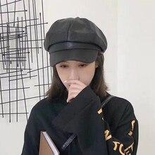 цена на LVTZJ New Women Leather beret vintage Herringbone Gatsby Tweed peaky blinders hat Newsboy Beret Hat spring Flat Peaked Beret Hat